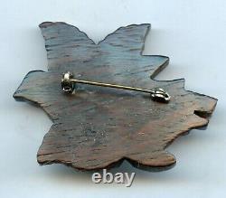 Rare Vintage Carved Bird Bakelite On Wood Leaf Pin Brooch Tested