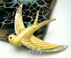 Rare Vintage Enamel Rhinestone Swallow Bird Brooch Marked Coro Des Pat Pend