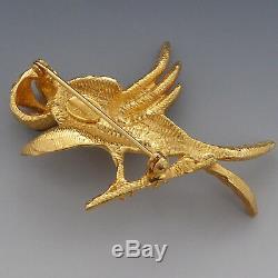 Rare Vintage Hattie Carnegie Bird Pearl Rhinestone Eyes Figural Pin Brooch