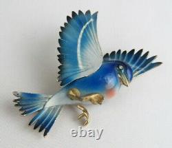 Rare Vintage Signed Weiss Enamel Bluebird Bird 2 1/2 Pin Brooch WOW