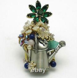 STANLEY HAGLER N. Y. C. Brooch Watering Can Flowers Seed Pearls Rhinestones OOAK