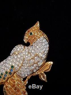 SWAROVSKI Retired Vintage Crystal Parrot Bird Brooch Pin Gold Tone