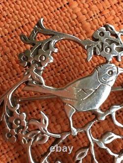 Scottish Silver Brooch By Malcolm Gray, Bird & Flowers, MG & Edinburgh Hall Mark