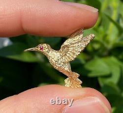 Small Vintage 14K Gold Hummingbird Pin, Bird Brooch