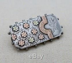 Sterling Silver British VICTORIAN FLORAL BIRD BROOCH Gold Back Locket Pin