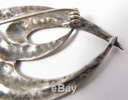 Sterling Silver Love Birds 2 Embraced Doves Ruby Crystal Eyes Pin Brooch Vintage