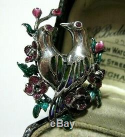 Sterling Silver Vintage Style Plique A Jour Enamel Love Birds Ruby Pin Brooch
