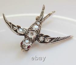 Stunning Antique Victorian Diamond (0.45ct) & Ruby set Swallow Bird Brooch c1885