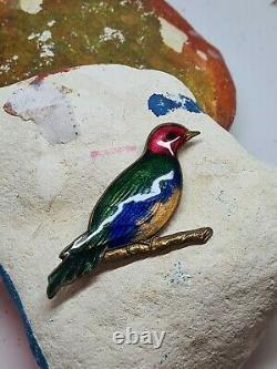 Stunning Antique Vintage Large Enamelled Gilt Bird Brooch