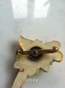 Stunning Rare Hand Painted Lucky Bird Pin Brooch Vtg Costume Jewelry Germany