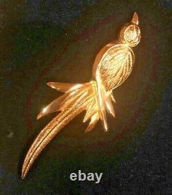 Stunning Vintage Christian Dior Gold Tone Bird Brooch Pin Signed