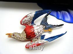 Stunning c1940 Large Vintage Enamel Rhinestone Bird Patriotic Eagle Brooch