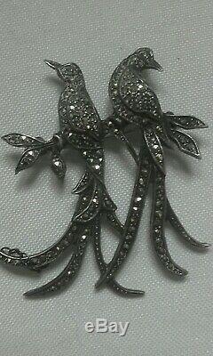 Stunning vintage LEGA brooch Birds of Paradise marcasite silver Australia