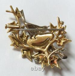 Superb Vintage 18k Yellow Gold Pave Diamond Birds In Nest Pin Back Brooch