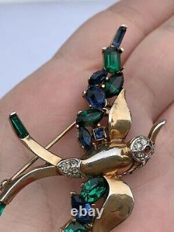 Trifari brooch Bird Jeweled Symphony A Philippe Rhinestone Vintage 1950s
