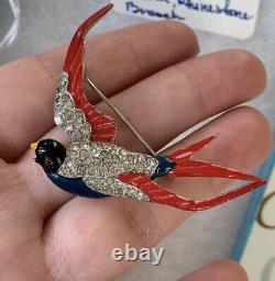 Trifari brooch Bird Vintage Antique 1940s Multi Enamel Alfred Philippe Signed