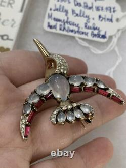 Trifari brooch Jelly Belly Bird A. Philippe Sterling D. P. 157197 Vintage 1949s