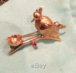 Unique Vintage 14K Yellow Gold Ruby Exotic Bird Nest Brooch Pin Beautiful