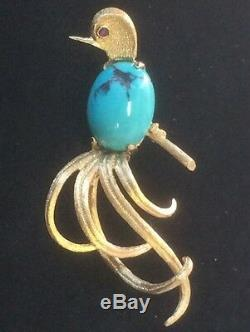 VINTAGE 14K GOLD ART DECO TURQUOISE BIRDS OF PARADISE PIN BROOCH 10 Grams