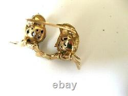 VINTAGE 18K YELLOW GOLD PIN-BROOCH 2 LOVING BIRDS with TAHITIAN PEARLS &RUBIES