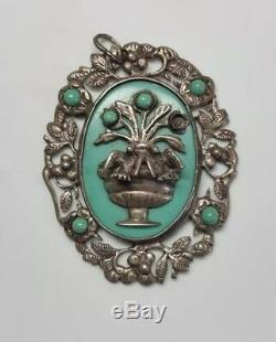 VINTAGE 1940s ANTIQUE MEXICAN STERLING SILVER 2 DOVE BIRDS FLORAL PIN BROOCH