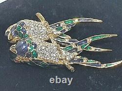 VINTAGE 80's D'Orlan Jay Birds Brooch Gold Tone Swarovski Crystal Enamel