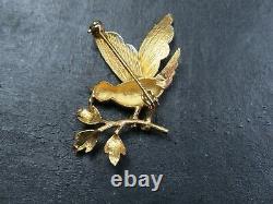 VINTAGE 9ct WHITE & YELLOW GOLD BIRD BROOCH PIN 1998