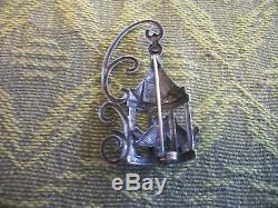 VINTAGE ANTIQUE STERLING SILVER SIGNED LANG LOVE BIRDS IN CAGE PIN BROOCH 1950s