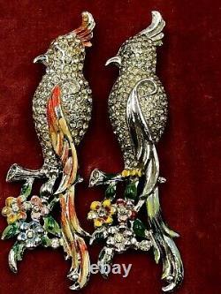 VINTAGE CORO DUETTE PAT 126490 by Verrecchio Calopsitta BIRDS 2 FUR CLIPS BROOCH