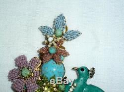 VINTAGE LARGE Stanley Hagler gorgeous flower and BIRD BROOCH pin HUGE 5