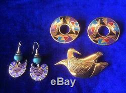 VINTAGE LAUREL BURCH 2 PAIRS of BIRDS EARRINGS & 1 BIRD BROOCH PIN