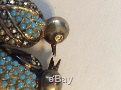 VINTAGE LOVE BIRDS Sterling Silver Marcasite TURQUOISE BEADED BROOCH PIN Jewele