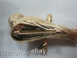 VINTAGE SIGNED CARLA 14K GOLD PARROT TROPICAL BIRD PIN ANIMAL BROOCH 6.3g
