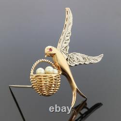 VTG 15K Gold Palladium Diamond Ruby Bird Pearl Egg Nest Brooch Pin