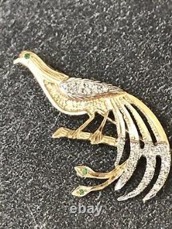 VTG 9 ct White Yellow Gold Diamond and Emerald Bird Of Paradise Brooch H/MARKED