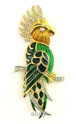 VTG Alice Caviness Faux Emerald Rhinestone Enamel Cockatoo Parrot Bird Brooch