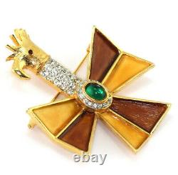 VTG Early Kenneth Jay Lane Emerald Rhinestone Enamel Bird Maltese Cross Brooch