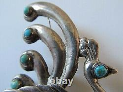 VTG Large Sterling Turquoise Bird of Paradise Peacock Brooch Made in Mexico