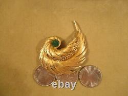 VTG Marcel Boucher Signed & No. Emerald/Jade Green Stone & Gold Bird Wing Brooch