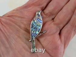 VTG Sterling silver brooch pin bright Abalone feathered bird on branch S 743