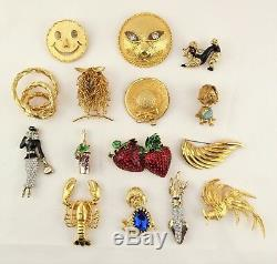 VTG unsigned puppy sun owl bird gold tone enamel figural 15 pins brooches lot