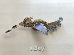 Vendome Blue Bird Brooch Vintage