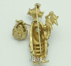 Very RARE Vintage CINER Asian Geisha Bird Lady Figural Brooch Pin