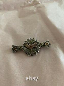 Victorian Aesthetic Sterling Silver & Gold Etched Floral Bird Pin Brooch