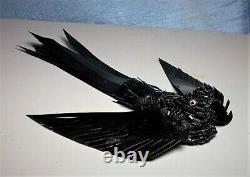 Victorian Beaded Black Celluloid Bird Hair Comb / Clip/ Brooch/ Handmade 100 yrs