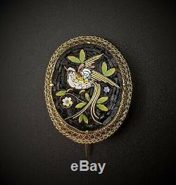 Victorian Era Micro Mosaic Bird Brooch, Italy, Grand Tour, Antique