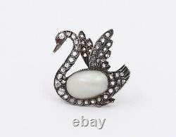 Victorian Rose Cut Diamond and Pearl Silver Gold Swan Brooch, Romantic Bird Pin