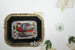 Victorian micro mosaic grand tour brooch of bird