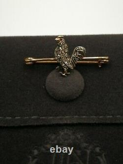 Victorian ruby, pearl and rose-cut diamond silver on gold bird/cockerel brooch