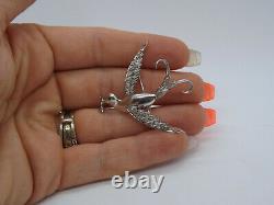 Vintage 10K White Gold Bird Pin with Single Cut Diamonds Brooch, 0.25 cttw